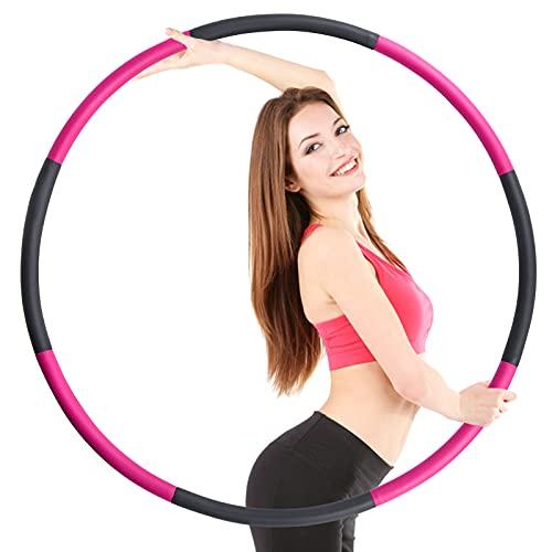 TOPLUS. Aro de hula hoop para adultos, para perder peso y masaje, 8 secciones desmontables de acero inoxidable, perfecto para fitness, entrenamiento, oficina
