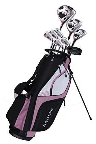 Ladies' Pink Golf Club Set for Petite Ladies ( Height 5' to 5'3' ), Right Handed, Includes: Driver, Wood, Hybrid, No. 6,7,8,9, PW Irons, Graphite Shafts for Woods and Irons, Putter, Bag, and 3 HCS