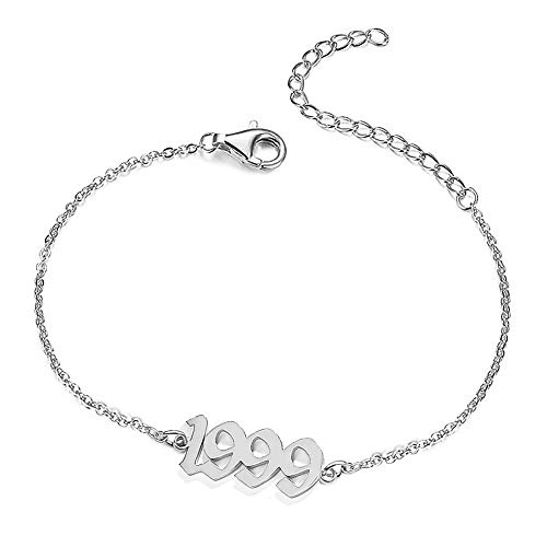 UMSTAR Birth Year Ankle Bracelets for Women,Summer Beach Foot Chain Dainty Silver Anklets for women girls Foot Jewelry Birthday Gifts (1999)