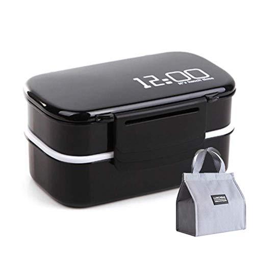 DLILI Brotdose Mikrowelle Doppelschicht Bento Box Lebensmittel Auslaufsicherer Behälter mit Geschirr und Isolierbeutel für Kinder Erwachsene Schüler, Schwarz