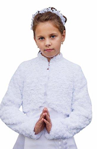 deine-Brautmode Kommunionjacke warme Jacke Jäckchen Bolero Kommunion Fell Pelz, Webpelzjacke 134