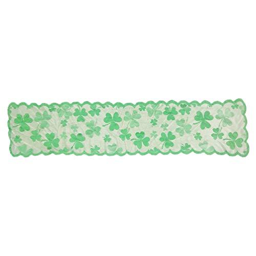 VALICLUD St Patricks Day Camino de Mesa Mantel de Trébol Irlandés Irlandés Mantel de Mesa Lucky Clover Bandera para St. Patricks Day Reuniones Cenas 33X183cm