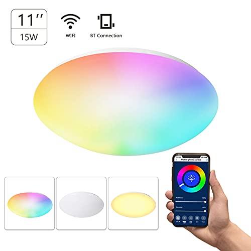 Daseey Lâmpada de teto inteligente de 11 polegadas 15W Flush Mount Wi-Fi Lâmpada de teto 2700K-6500K Branco e RGB Multicolorido Luzes de teto reguláveis por voz Controle de APP Função de controle de t