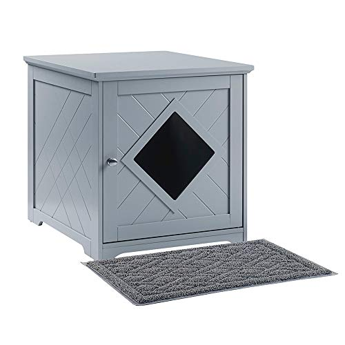 unipaws Cat Litter Box Enclosure with Mat, Privacy Cat Washroom, Litter Box Hidden, Pet Crate with Sturdy Wooden Structure, Cat House Nightstand, Gray