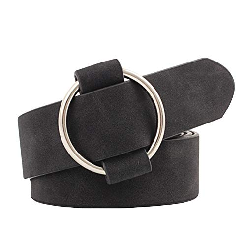 YUnnuopromi - Synthetic Leather Belt for Women, Plain Color, No Pins, Round, Wide, Black
