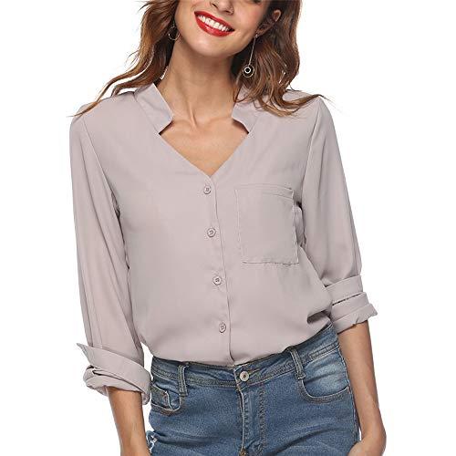 SIRUITON Bluse Damen Elegant V-Ausschnitt Lose Lange Ärmel Hemd mit Tasche Grau Medium(DE38-40)
