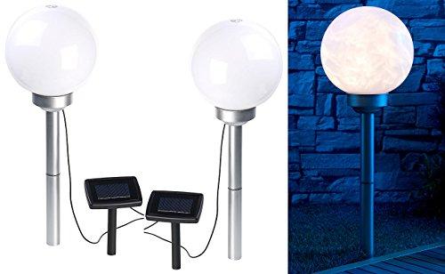 Borne lumineuse sphérique à LED Ø 20 cm avec effet lumineux rotatif & piquet - x2 [Lunartec]