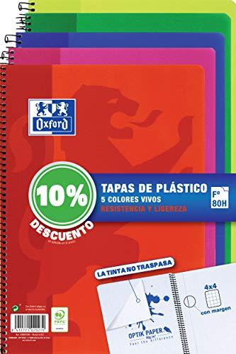 Oxford Cuadernos A4 , Tapa Plástico, 80 Hojas, Cuadrícula 4x4, Pack 5 unidades, Surtido colores vivos