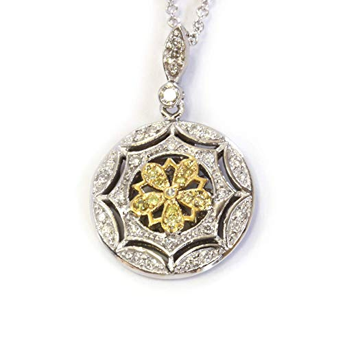 0.35 ct tw Natural Fancy Yellow & White Diamond Solid 14k Two Tone Gold Flower Pendant Necklace for Women 26 mm - Length 15 to 20 Inches available (0.35 Ct Fancy Diamond)