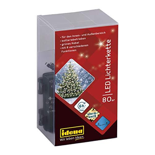 Idena 30438 - LED Lichterkette mit 80 LED in warm weiß und 8 Lichtfunktionen, mit 6 Stunden Timer Funktion, Batterie betrieben, Innen und Außenbereich, für Partys, Weihnachten, Hochzeit, ca. 6,5 m