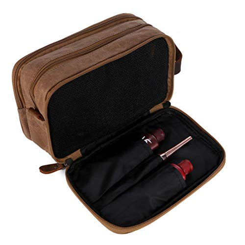 BAOSHA Waxed Canvas Travel Toiletry Bag Shaving Dopp Kit for Men XS-07 (Brown)