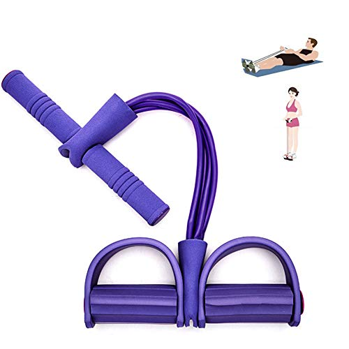 Qplcdg Fitness-Zugseil,Pedal Zugseil Körper 4 Tube Übungsgerät Bodybuilding Zugseil Bauchbein Oberschenkel Arme Muskeln Bauch. (Lila)