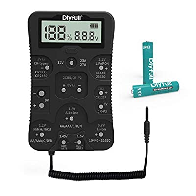 Dlyfull Universal Battery Tester with Large LCD Display, Multi Purpose Small Battery Tester Checker with Lead for All Common Batteries and Rechargeable Batteries, 2x AAA batteries Included