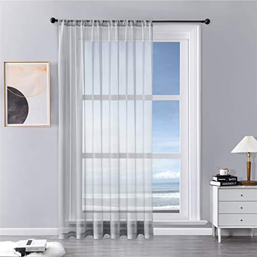 MRTREES Vorhänge Gardinen mit Store Vorhang Voile halbtransparent kurz in Leinenoptik Gardine Schals Grau 228×228cm (H×B) für Wohnzimmer Schlafzimmer Kinderzimmer 1er Set
