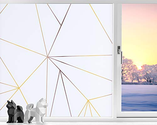 Coavas Window Film Privacy Non Adhesive Window Frost Film Self Static Window Clings for Privacy Anti-UV Stained Glass Window Film for Living Room Bathroom White Triangular Pinstripe 17.7 x 78.7 inch