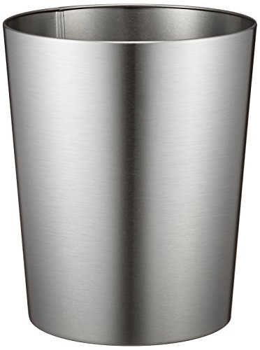 "iDesign Patton Round Metal Trash Can, Waste Basket Garbage Can for Bathroom, Bedroom, Home Office, Dorm, College, 8"" x 8"" x 9.7"", Brushed Stainless Steel"
