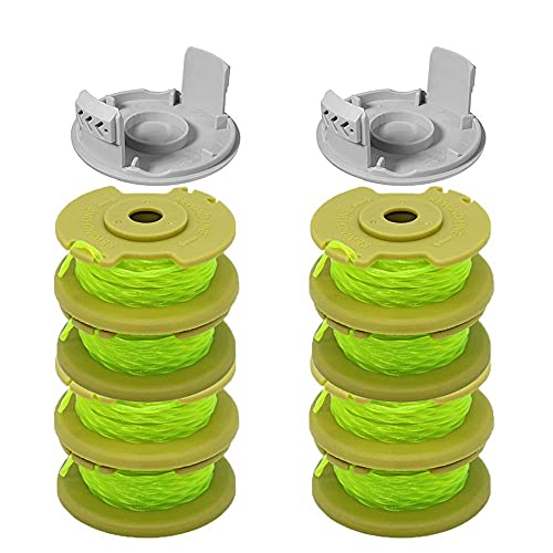 LIYYOO AC80RL3 Replacement Spool Line Compatible with 18v, 24v, 40v Cordless Trimmers,Weed Eater String Autofeed Replacement Spools Line (8Spool,2Cap)