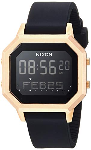 NIXON Siren SS A1211 - Black/Rose Gold - 100m Water Resistant Women's Digital Sport Watch (36mm Watch Face, 18mm-16mm Silicone Band)