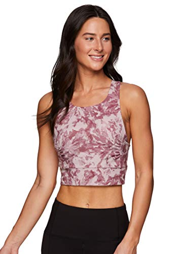 RBX Active Women's Racerback Crop Tank Top with Built in Bra, Tie Dye Ultra Soft Cropped Yoga Bra Top with Removable Cups Watercolor Tie Dye Pink L