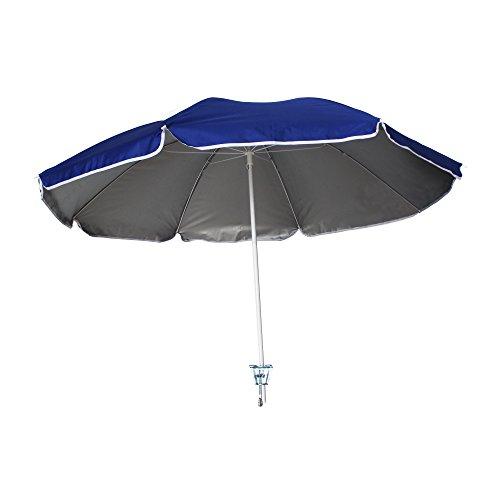 AMMSUN 4.5ft Portable Beach Chair Umbrella Lightweight Balcony Parasol + Clamp On Screw Beach Clip Umbrella Sun Shelter Shade Silver Coating Inside Royal Blue (Chair not Included)