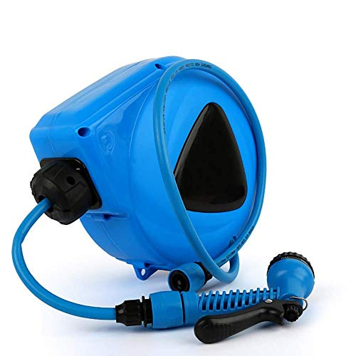 Auto Reel Garden Hose Reel With 6-Function Spray Gun Attachment For Garden Watering Flowers Car Washing Pets Gardening for Home Gardening (Color : Blue, Size : 29.5x16.5x33cm) XUAGMT (Color : Blue)