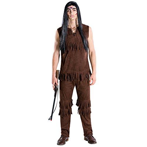 TecTake Disfraz de Jefe Indio Gran búfalo Salvaje para Hombre | Parte Superior sin Mangas y pantalón con Flecos Decorativos (M | no. 300682)