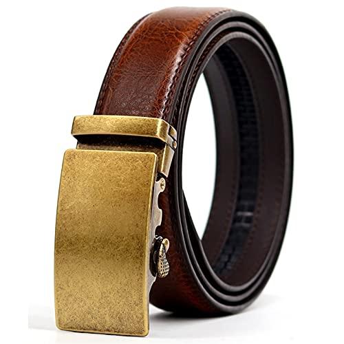 SZBLYY Cinturón Hombre Cinturón de Negocios de Negocios Cinturón de cinturón de Cuero para Hombre Diseñador de Lujo Aleación automática Behill Brown Strap 43'-51'