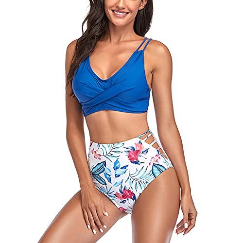 Bañador de cintura alta push up, bikini altos, bañador estampado para mujer, bañador, azul, XL