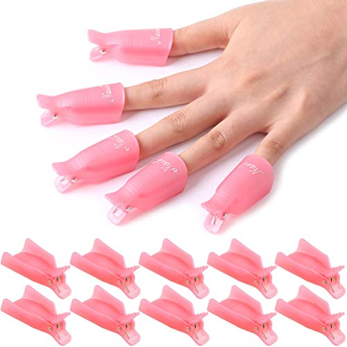 KINGMAS 10 Pcs Gel Nail Polish Remover Clips, Plastic Acrylic Nail Art Remover Soak Off Wrap Cleaner Cap Clip