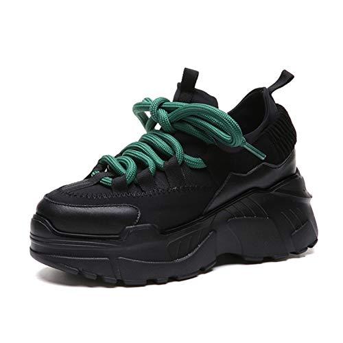 Zapatos de Plataforma de Ocio con Cordones para Mujer, súper Ligeros, para Uso Diario al Aire Libre, Creepers Gruesos, Zapatillas sucintas de Primavera y otoño