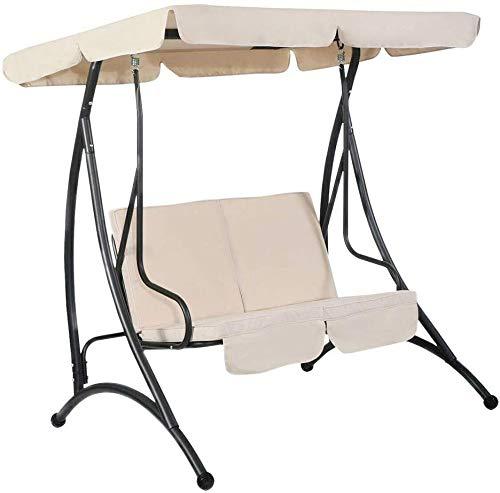 AQzxdc Wasserdicht 210D Polyester Veranda Patio Swing Canopy Ersatz Oben und Sitzbezug, UV-Schutz, staubdicht,Beige,249 * 185 * 18cm