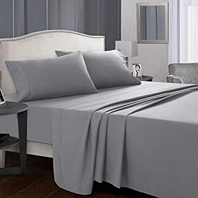 Starcast Bed Sheet Set Queen Size Soft Microfiber 1800 Thread Count Bedding Sheet Set Deep Pocket, Wrinkle,Fade Resistant, Breathable, Hotel Luxury Cooling Sheets Set-4 Piece (Grey