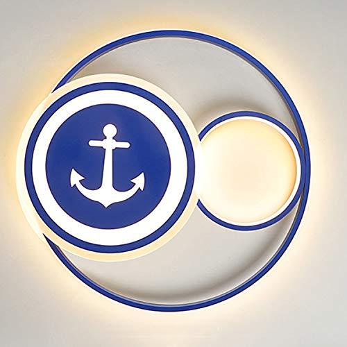 FCX-LIGHT Habitación para Niños Lámpara de Techo,Habitación para Niños Estilo mediterráneo Dormitorio de Dibujos Animados Luz de Techo Barco Pirata Iluminación Colgante,50cm