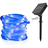 LTE Solar Rope Lights LED String Lights Waterproof Solar Powered Light for Gardens, Patios, Homes, Parties 33ft 100 LEDs Blue