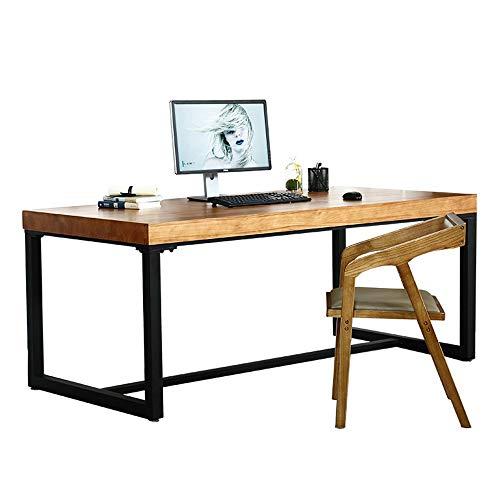 Kosmetyczka torba do makijażu biurko komputerowe lite drewno szef stół dom gabinet komputer biuro biurko żelazo loft biurko dla mężczyzn i kobiet (kolor: Drewno, rozmiar: 120 x 60 x 75 cm)