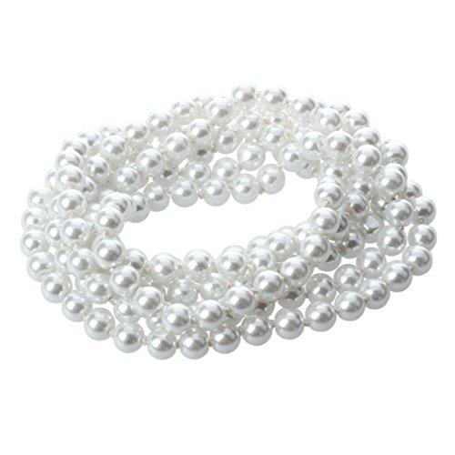SODIAL(R) Longue Blanc Ronde Verre Faux Perle Boule Perles Collier Hot