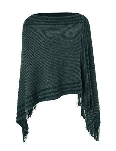 Ferand Legerer Gestreifter Damen Poncho-Schal Strick-Pullover mit Fransen, Schwarzgrün, Einheitsgröße (Beste Passform S-L)