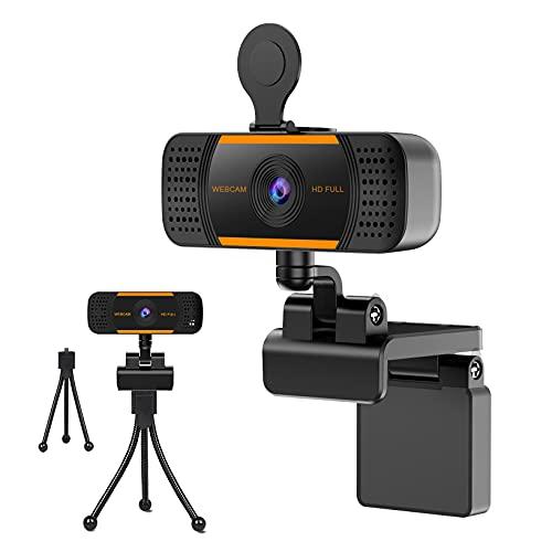 Webcam 2K Webcam PC Webcam USB, Micrófono Digital, Enfoque y Corrección de Luz Automático, Tapa de Seguridad, Trípode,...