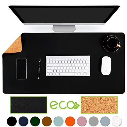 Aothia umweltfreundliche Naturkork &Leder doppelseitige Schreibtischunterlage 80 * 40cm Mauspad glatte Oberfläche weich einfach sauber wasserdicht PU-Leder Schreibtischschutz für Büro(Schwarz)