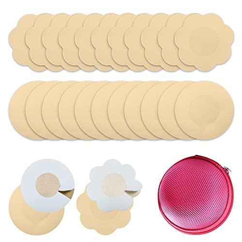 RIFNY 50 Paar Nipple Cover - Nippelabdeckung Damen Unsichtbare Brustwarzen Abdeckungen Einweg wasserdichte Brustpasteten Selbstklebende Nippel Aufkleber (Rund und Flower)