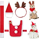 4 Pieces Pet Christmas Costume Outfit Adjustable Cat Apparel Costume Cat Santa Christmas Hat and Scarf Dog Reindeer Antler Hat for Christmas Party Cosplay