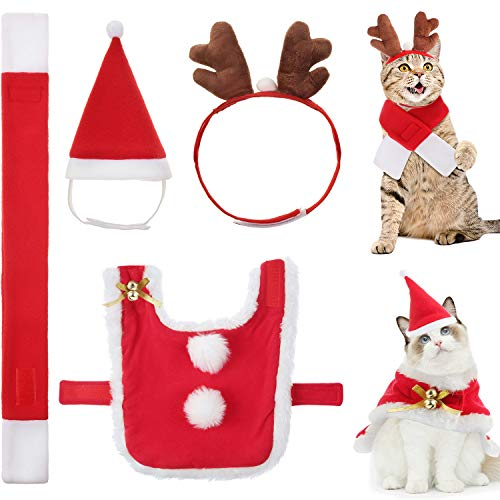 4 Pieces Cat Christmas Costume Outfit Adjustable Cat Apparel Costume Cat Santa Christmas Hat and Scarf Cat Reindeer Antler Hat for Christmas Party Cosplay