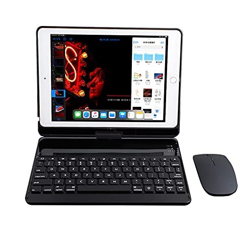 ktong Funda con Teclado Giratorio de 360 ° para iPad 2020/2019 de 10,2', combinación de Funda y ratón con Teclado retroiluminado, Funda para Tableta, lápiz Capacitivo y Protector de Pantalla,Negro