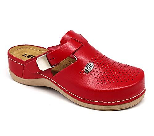 Leon 900 Komfortschuhe Lederschuhe Pantolette Hausschuhe Clog, Damen, Rot, EU 41