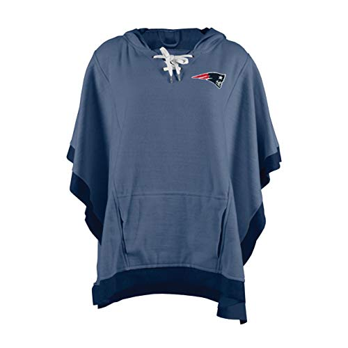 Littlearth NFL New England Patriots Heather Hoodie Poncho, Navy, One Size
