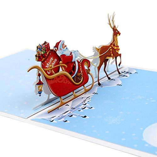Tarjeta de felicitación de Navidad 3D Tarjeta de felicitación de Navidad divertida 3D Tarjetas de felicitación de regalo para familiares, amigos, empresas, diseño de carro de ciervos de Navidad