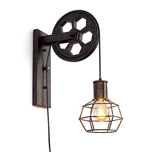 TAIZ Industriales Pared Luces Retras Creativas Lámpara Polea De Elevación Pasillo De La Lámpara De Pared del Pasillo [Clase De Eficiencia Energética A]