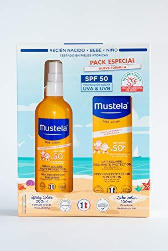 Mustela Spray Solar 200ml (SPF 50) + Leche Solar 100ml (SPF 50) Pack especial nueva fórmula