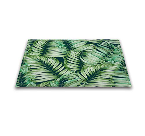 LB Green Tropical Leaves Decor Small Bedroom Rugs, Soft Microfiber Surface Non Slip Rubber Backing, Jungle Frond Leaf Bathroom Rug 15 x 23 Inches
