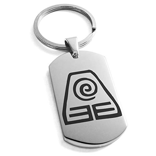Tioneer Stainless Steel Avatar Earth Element Symbol Dog Tag Keychain Keyring